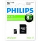 ELECTRONICA:PHILIPS MICRO SDHC CARD 8GB CLASS 10 ADAPT.